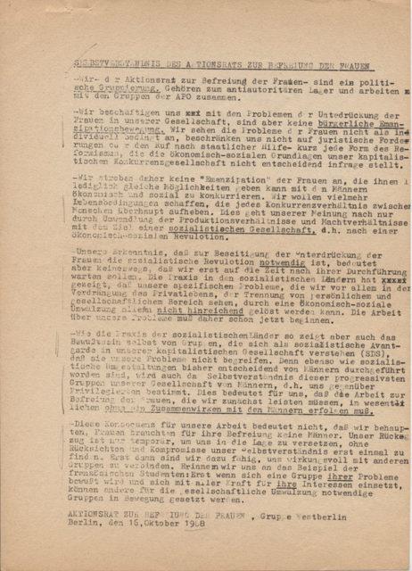 Selbstverständnis des Aktionsrats zur Befreiung der Frauen, Berlin 16.10.1968 (FMT-Signatur: FB.04.161)