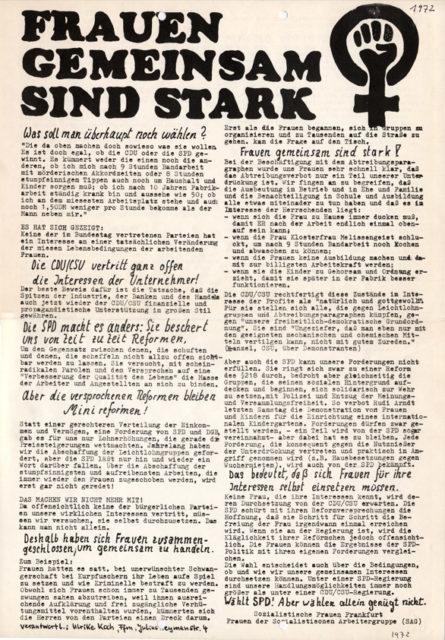 Sozialistische Frauen Frankkfurt: Frauen gemeinsam sind stark, 1972, Flugblatt (FMT-Signatur: FB.07.046)