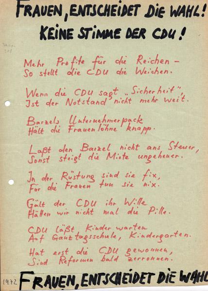 Flugblatt: Frauen, entscheidet die Wahl!, 1972 (in: PD-FE.03.01-1972)