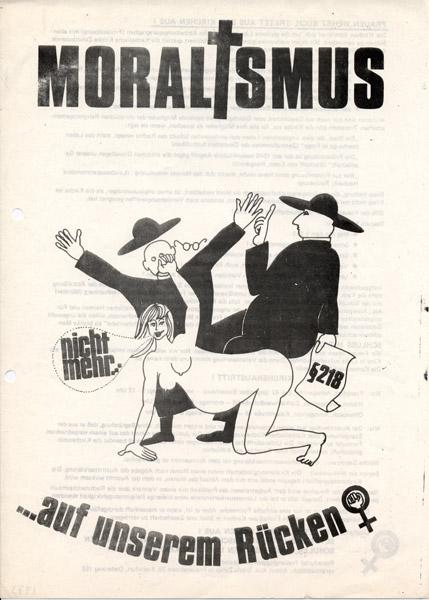 Flugblatt: Moralismus nicht mehr...auf unserem Rücken! 1973 (FMT-Signatur: FB.07.241)