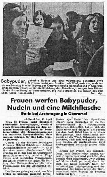 Frankfurter Neue Presse, 16. April 1973: Frauen werfen Babypuder. Frauenprotest bei Ärztetagung in Oberursel (FMT-Pressedokumentation: PD-FE.03.01-1973)