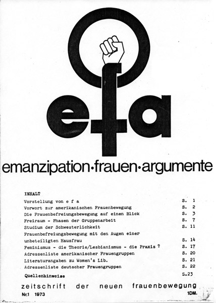 Titel der Erstausgabe der Zeitschrift efa (emazipation-frauen-argumente), Nr. 1, 1973