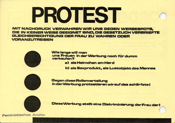 """Fraueninitiative Berlin / Arbeitskreis Frauenemanzipation der Humanistischen Union Berlin: Protest-Postkarte der Aktion """"Frau in der Werbung"""", 1973"""