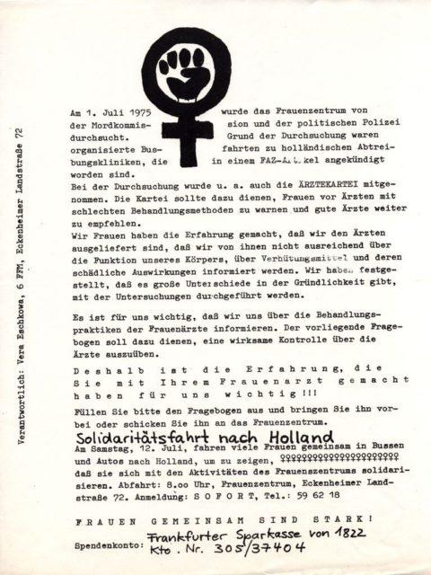 Flugblatt Solidaritätsfahrt nach Holland nach der Durchsuchung des Frauenzentrums Frankfurt durch die Mordkommission, 1975 (FMTSignatur: FB.05.103)