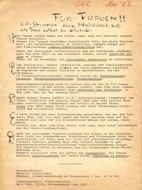 Informationsblatt und Einladung zu einer CR-Gruppe in einem Studentenwohnheim in München, 1973. (FMT-Signatur: FB.07.039)