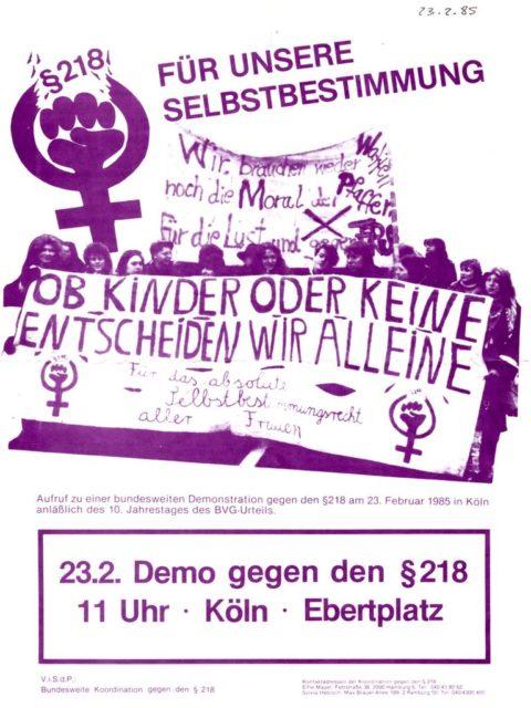 Flugblatt: Aufruf zur Demo gegen § 218 in Köln am 23.02.1985 (FMT-Signatur: FB.05.157)