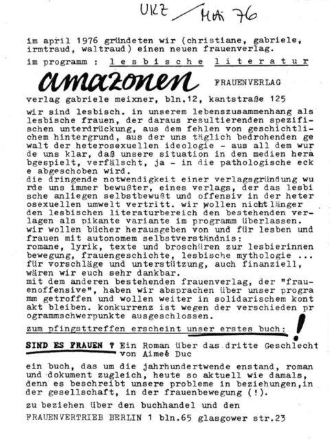 Ankündigung des Amazonen-Frauenverlags, Quelle: UKZ, Mai 1976. (FMT-Signatur: Z-L301)
