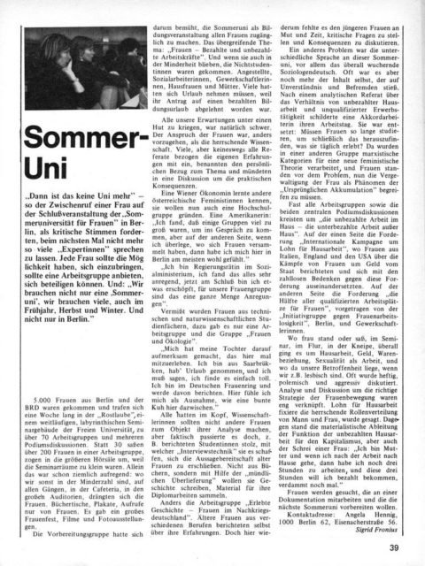 Artikel zur Sommer-Uni von Sigrid Fronius
