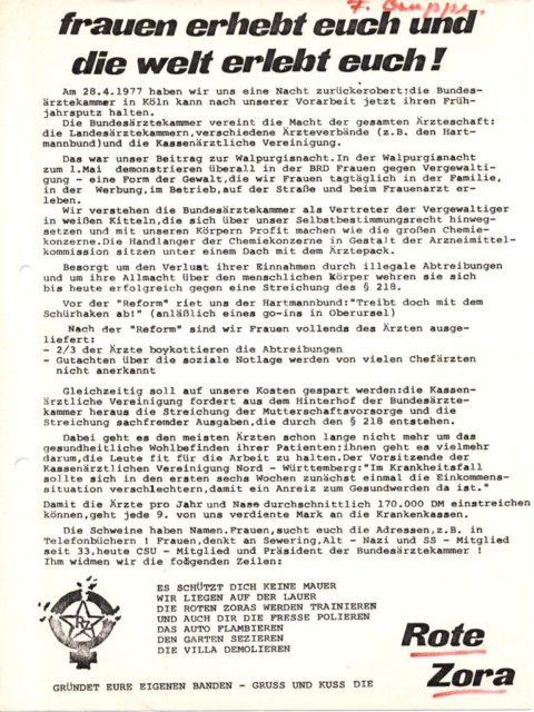 Flugblatt der Roten Zora 'Frauen erhebt euch und die Welt erlebt euch!', 1977 (FMT-Signatur: FB.07.102)