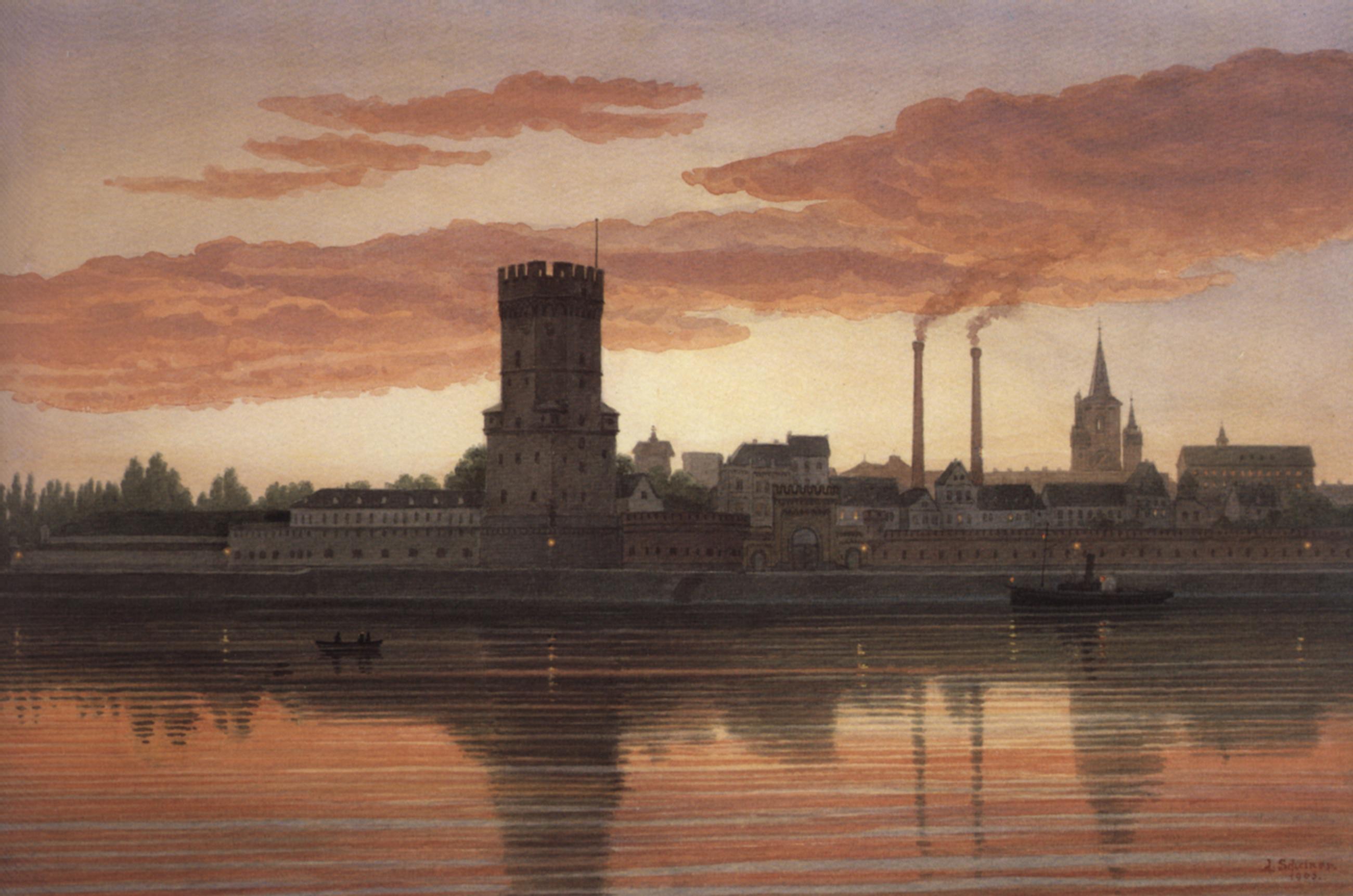 Bayenturm und Severinsviertel, Aquarell von Jakob Schreiner, 1905 © Kölnisches Stadtmuseum