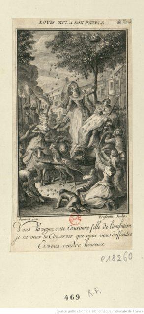 Quelle: Desrais, Claude-Louis [illustrateur]; Frussotte, C. [graveur] (1790). Louis XVI à son peuple: vous le voyez cette couronne folle..., URL: gallica.bnf.fr/BnF