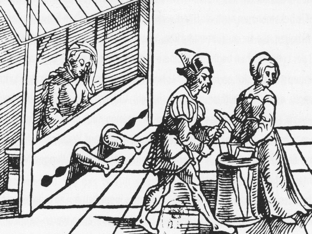 Folterszene, Holzschnitt aus dem 16. Jh.