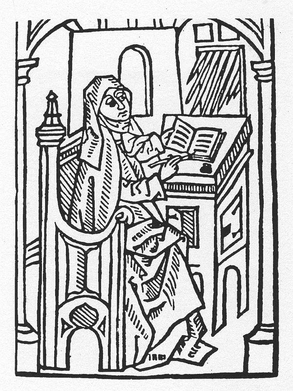 Geistliche Frau am Schreibpult, Holzschnitt, um 1500