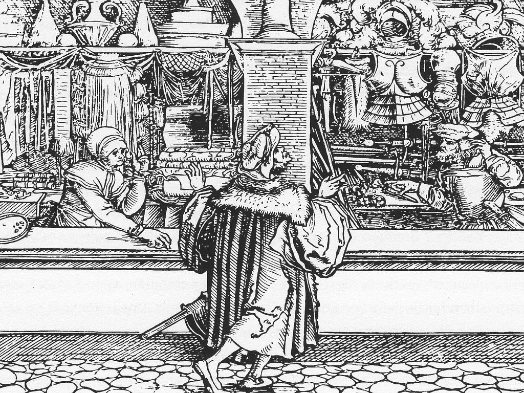 Frau beim Verkauf, Illustration (Holzschnitt) von Hans Weiditz, 1531