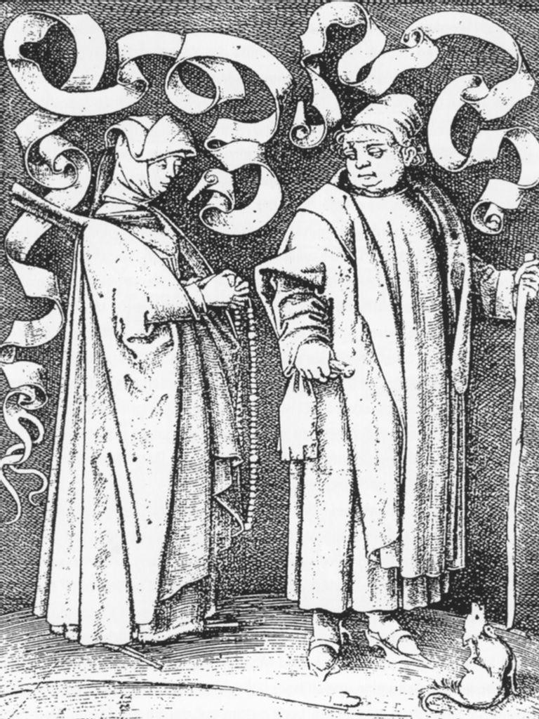 Begine und Mönch, Kupferstich von Israhel von Meckenem, Ende 15. Jh.