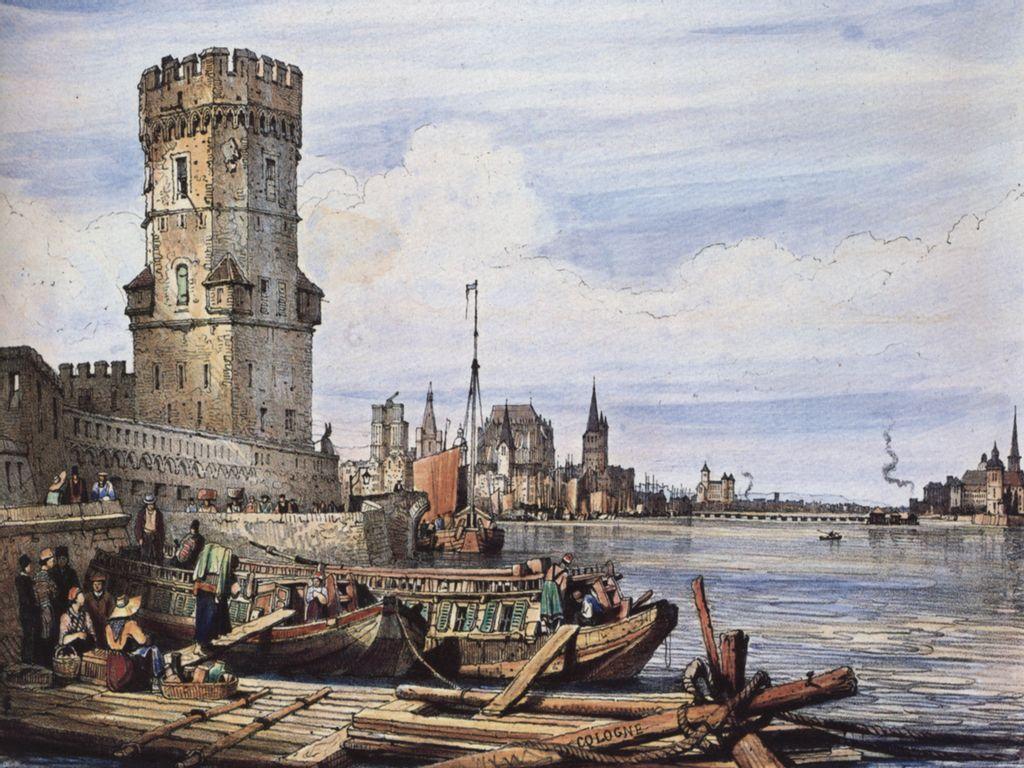 Am Bayenturm, kolorierte Lithografie von Samuel Prout, London, 1822/24 © Kölnisches Stadtmuseum