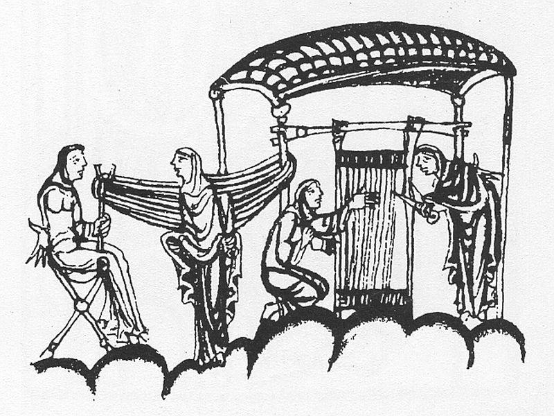 Nonnen am Webstuhl, Miniatur, 12. Jh.