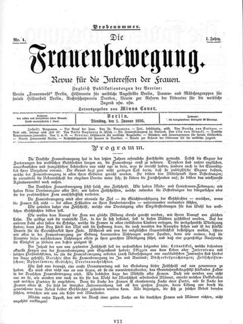 Die Frauenbewegung, Minna Cauer [Hrsg.], Probenummer 1895