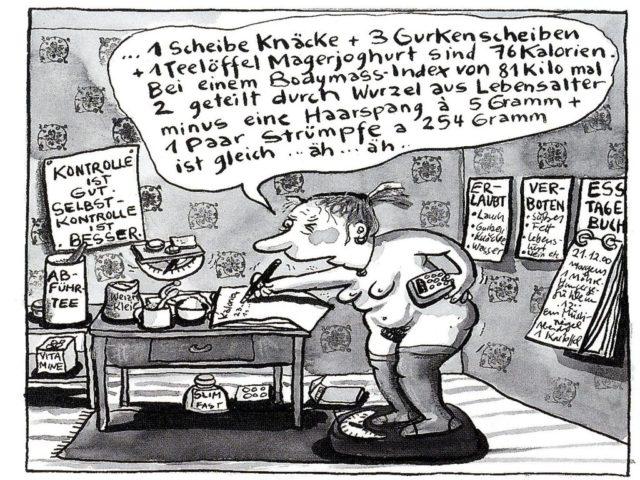 "© Franziska Becker, Comic ""Leidkultur"" in EMMA 1/2001, S.63."