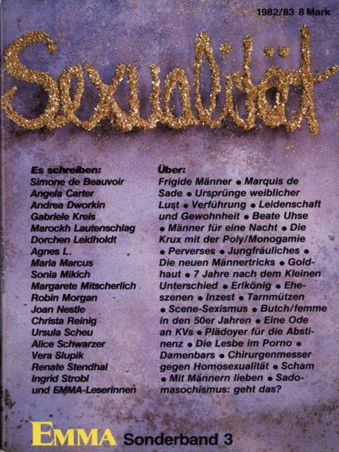 Externer Link: Sexualität (1982). - Mikich, Sonia [Hrsg.] ; Schwarzer, Alice [Hrsg.]. Köln : Emma-Frauen-Verlag. (FMT-Signatur: KO.11.027-1982)