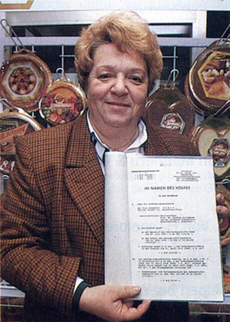Rosemarie Ewers erkämpfte das Recht auf Nachtarbeit, 1992 (Bildquelle: EMMA 3/1993)
