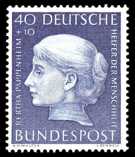 Deutsche Bundespost: Briefmarke Bertha Pappenheim, Wohlfahrtsmarke, 28. Dezember 1954