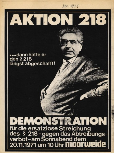 Aktion 218: Aufruf zur Demonstration gegen den Paragraphen 218, November 1971 (FMT-Signatur: FB.05.007)