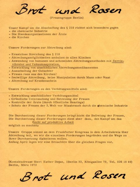 "Flyer of the Berlin women's group ""Brot & Rosen"" against §218, March 1972 (FMT Shelf Mark: FB.07.049)"
