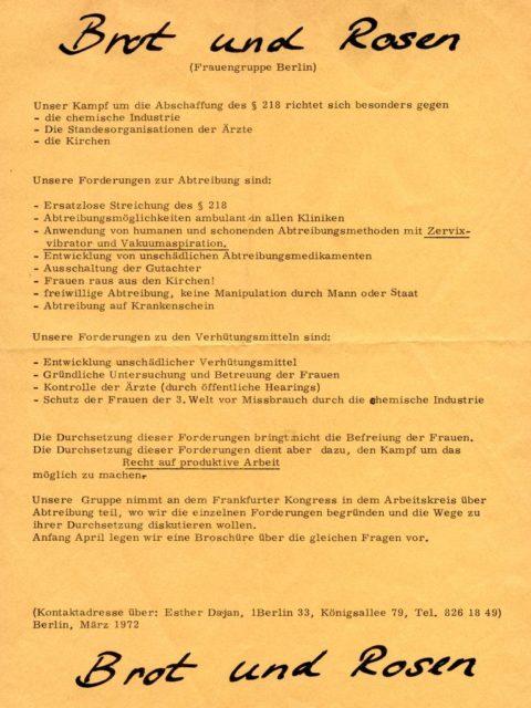 Flugblatt der Berliner Frauengruppe Brot & Rosen gegen §218, März 1972 (FMT-Signatur: FB.07.049)