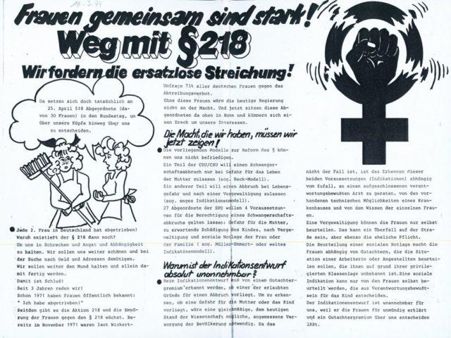 Frauen gemeinsam sind stark! : Weg mit § 218; Wir fordern die ersatzlose Streichung!, 16.03.1974 (FMT-Signatur: FB.05.049)