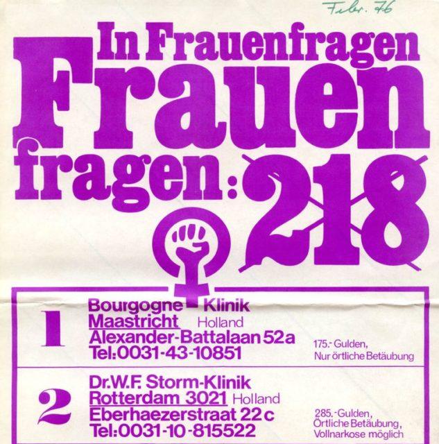 Flugblatt mit Adressen von Abtreibungskliniken und Beratungsdiensten in Holland und Österreich, 1976 (FMT-Signatur: FB.05.117)