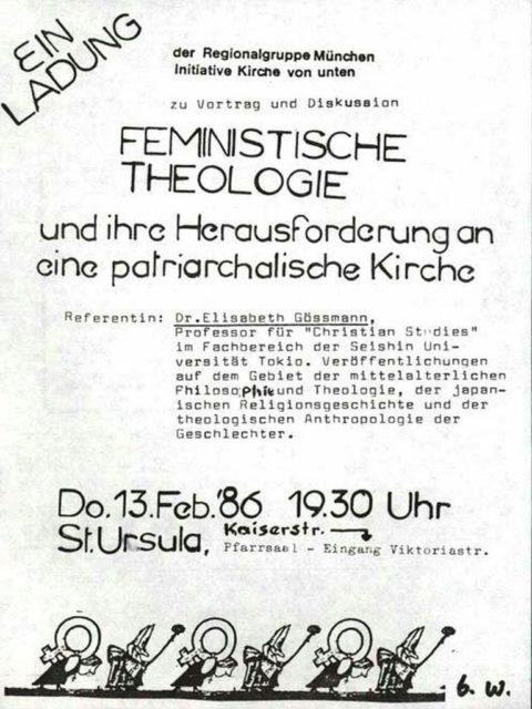 Einladung zum Vortrag: Feministische Theologie und ihre Herausforderung an eine patriarchale Kirche (FMT-Signatur: FB.01.107)