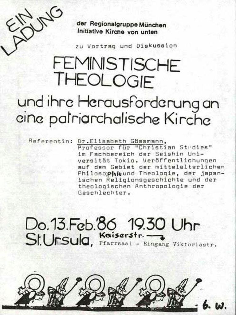 Einladung Zum Vortrag: Feministische Theologie Und Ihre Herausforderung An  Eine Patriarchale Kirche (FMT