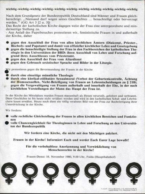 Flugblatt anlässlich des Papstbesuches im November 1980 (FMT-Signatur: FB.02.101)