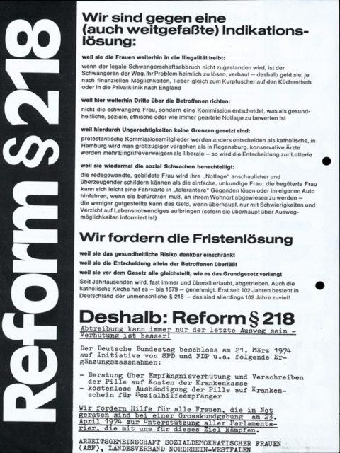 Flugblatt zur Forderung nach Fristenlösung; Kundgebung, 23.04.1974 (FMT-Signatur: FB.05.055)