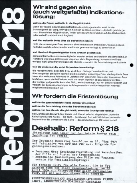 Leaflet: Demand of Fristenlösung; rally, 23.04.1974 (FMT Shelf Mark: FB.05.055)