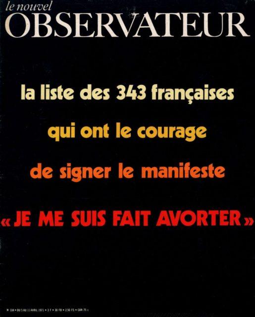 """Le Nouvel Observateur: La liste des 343 francaises qui ont le courage de signer le manifeste """"Je me suis fait avorter"""" (FMT-Signatur: SE.11-a)"""