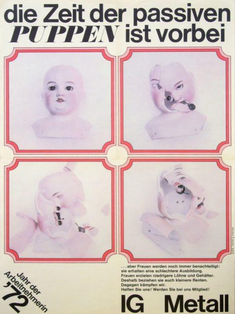 Jahr der Arbeitnehmerin 1972; Plakatwerbung für die IG Metall (FMT-Signatur: PT.1972-01)