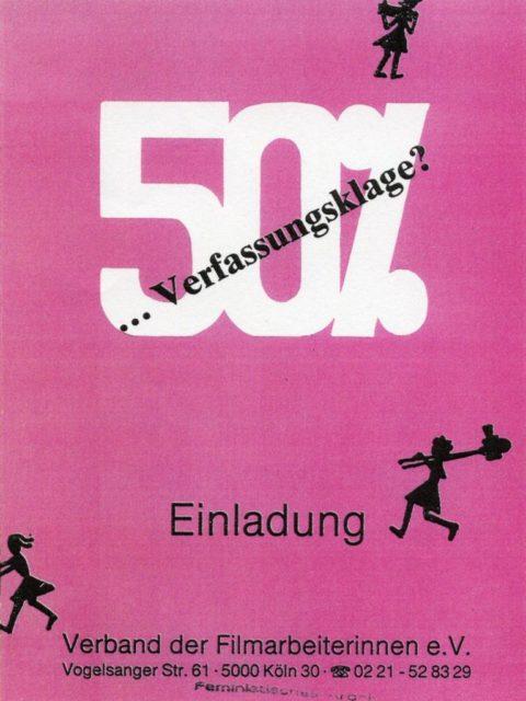 Dokumentation zur Verfassungsklage des Verbands der Filmarbeiterinnen (1988). - In: Frauen und Film, Nr. 44/45, S. 168-171. (FMT-Signatur: Z-F006:1988-44/45)