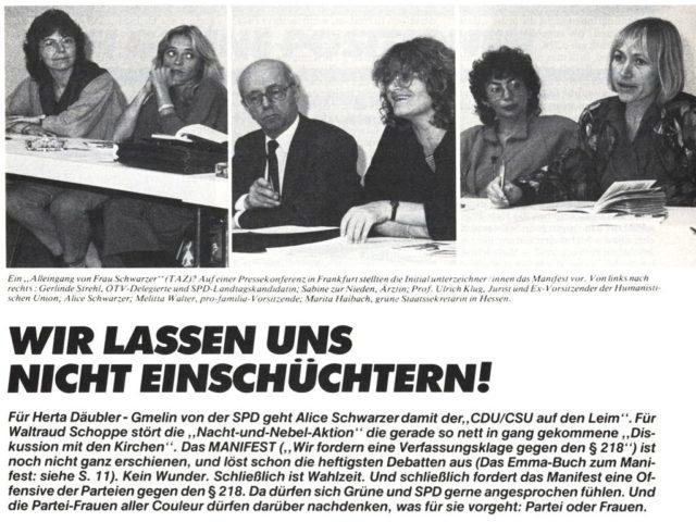 Bericht über die Pressekonferenz zum Manifest gegen § 218 (In: EMMA 11/1986, S.19)