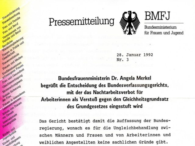 Download: Pressemitteilung zur Aufhebung des Nachtarbeitsverbots, aus FMT-Pressedokumentation Frauenarbeitsschutz PD-ST.13.16
