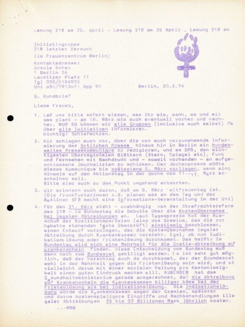 """Initiativgruppe 218 letzter Versuch"": 5th circular, 20.02.1974 (FMT Shelf Mark: FB.05.039)"