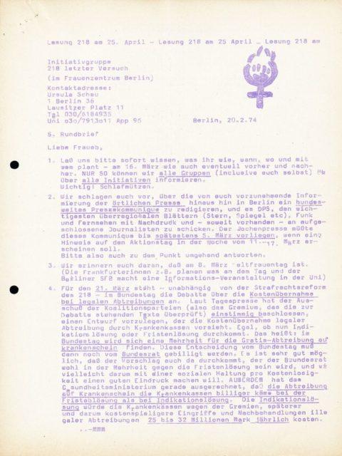 Initiativgruppe 218 letzter Versuch: 5. Rundbrief, 20.02.1974 (FMT-Signatur: FB.05.039)
