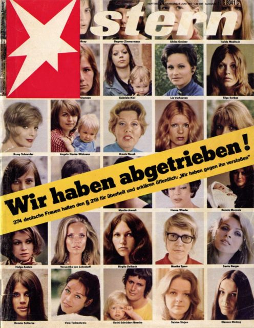"374 German women consider the §218 obsolete and declare publicly: ""We have violated him,"" Stern, 24/1971, (FMT Shelf-Mark: SE.11-a)"