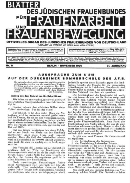 Jüdischer Frauenbund in Deutschland (JFB) [Hrsg.]: Blätter des Jüdischen Frauenbundes für Frauenarbeit und Frauenbewegung. Berlin: Frauenbund, 1930.