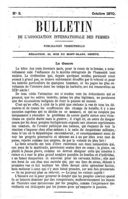 Bulletin Juli 1870 © Gosteli-Stiftung, Archiv, CH-3048 Worblaufen