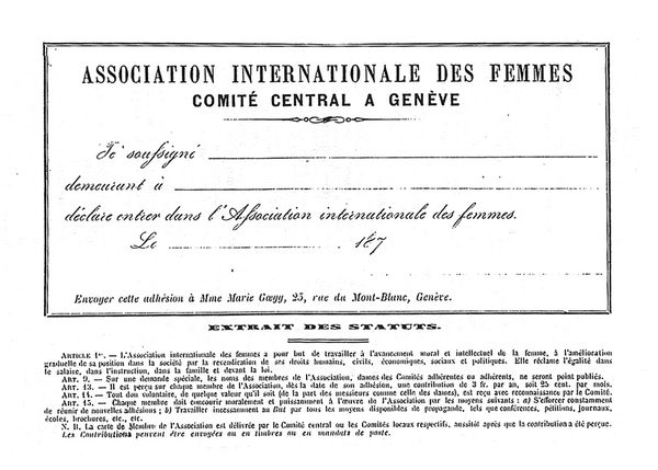 Mitgliedserklärung der Association Internationale des Femmes © Gosteli-Stiftung, Archiv, CH-3048 Worblaufen