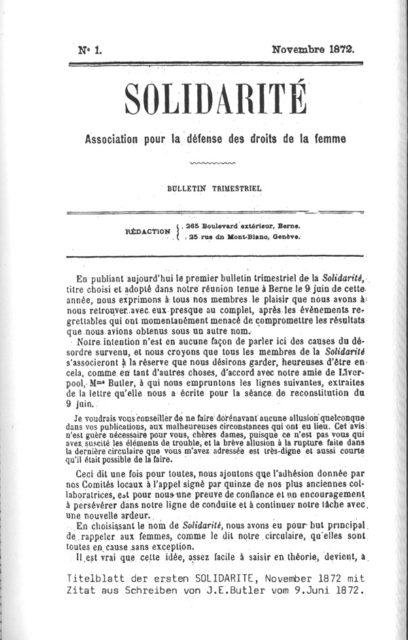 Titel der Erstausgabe der Solidarité, 1872 © Gosteli-Stiftung, Archiv, CH-3048 Worblaufen