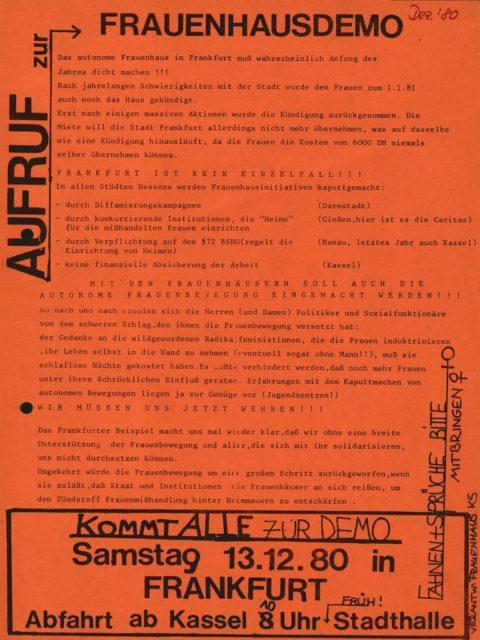 Flugblatt: Demonstration für Förderung von Frauenhäusern, 13.12.1980, Frauenhaus (FMT-shelfmark: FB.04.094)
