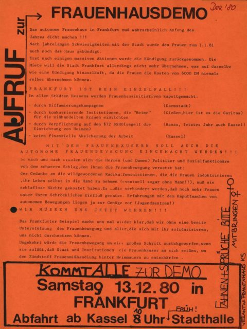 Flugblatt: Demonstration für Förderung von Frauenhäusern, 13.12.1980, Frauenhaus (FMT-Signatur: FB.04.094)